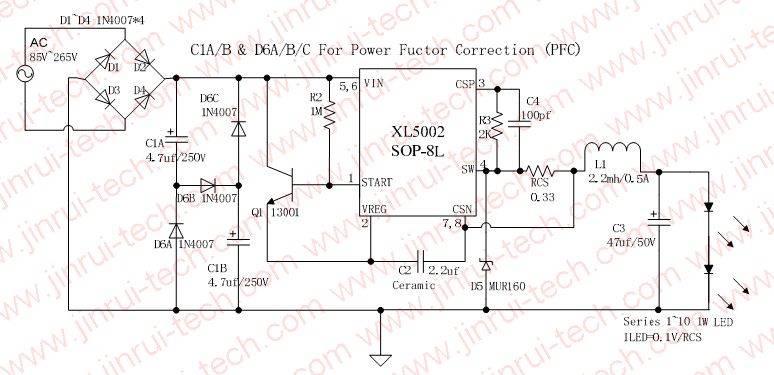 XL5002应用原理图,LED电源,GU10电源,E27电源,MR16电源,PAR30电源