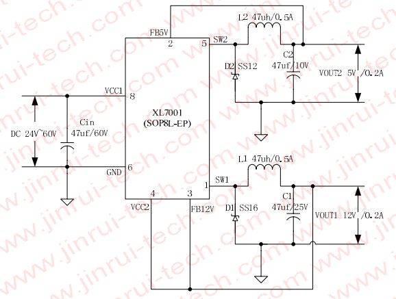 XL7001电动车供电电源方案,电动车电源,EBIKE电源,电动车电源方案,单芯片EBIKE电源方案,XL7001应用电路